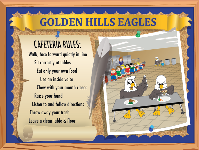 This poster was customized to be hung up for everyone to see in the cafeteria. It shows the Eagle following the rules and enjoying their healthy lunches.