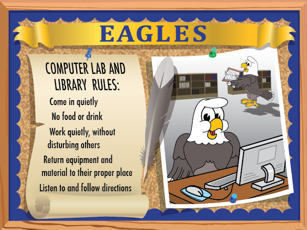 This poster can be used in both the library and computer lab.