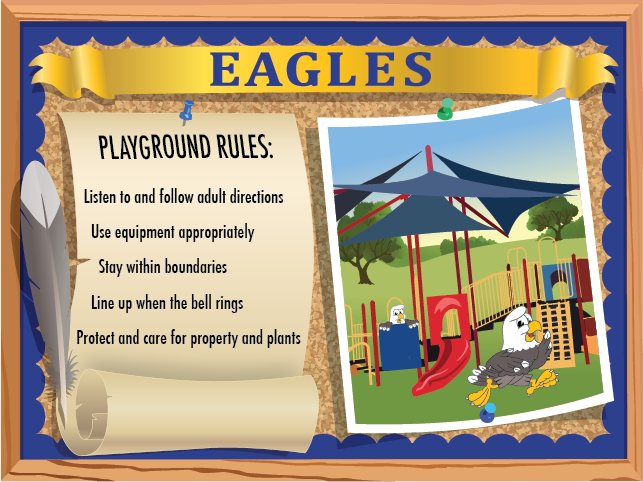 This playground rules poster lists generic rules to follow on the playground but can be customized for you school. Contact us to find out how!