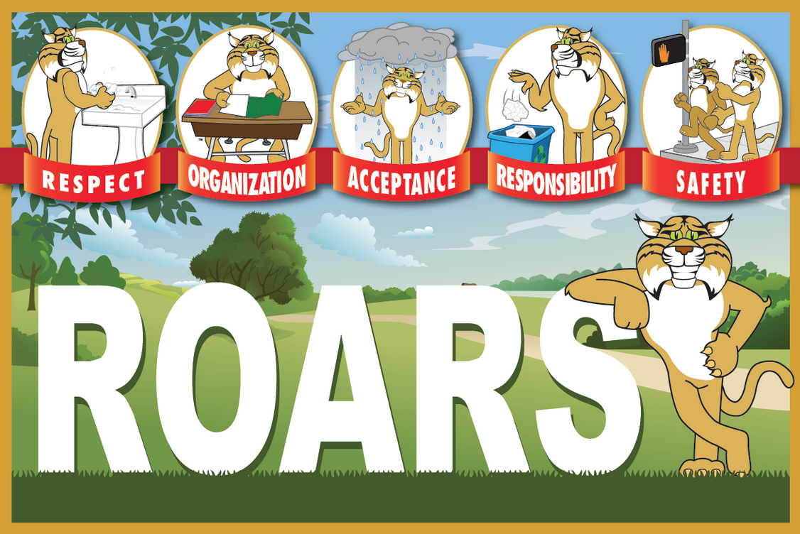 ROARS is the PBIS theme of this poster for an elementary school. It reflects the positive expectation behaviors of respect, organization, acceptance, responsibility and safety. We can custom design a poster like this for your school featuring your mascot and theme.