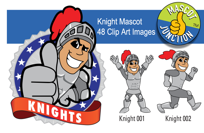 Knight Mascot Clip Art Illustrations