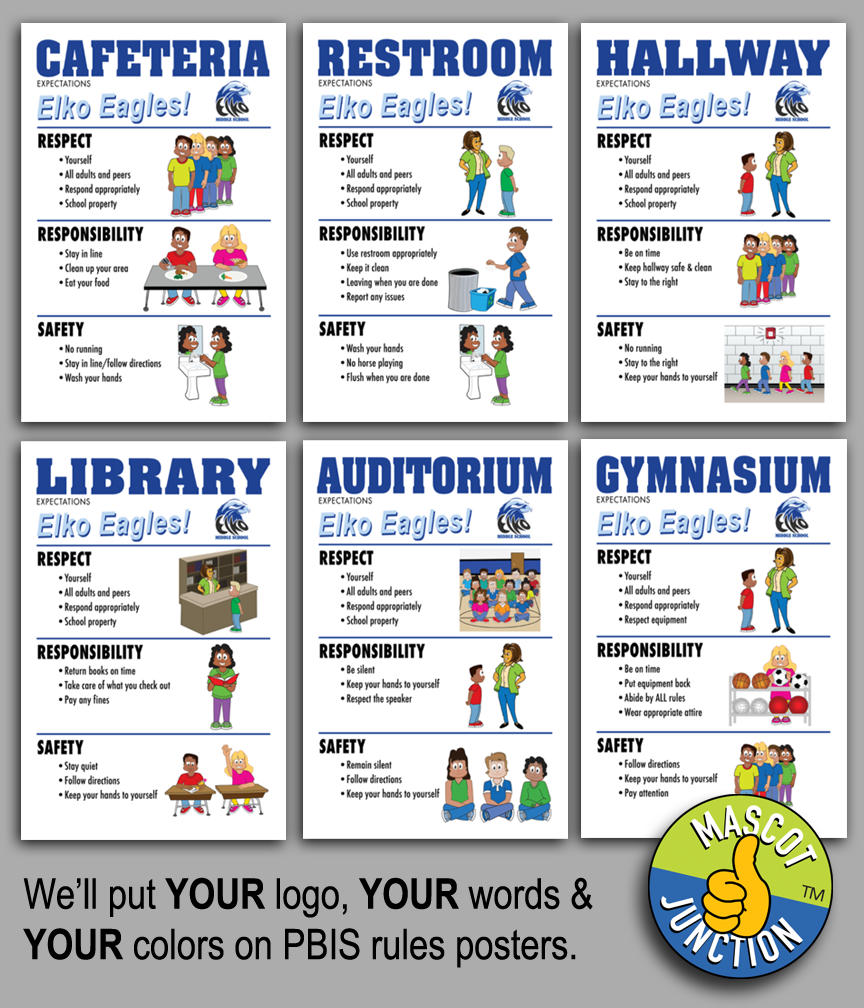 School Logo PBIS Rules Posters